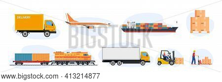 Delivery And Logistics Transport Icons. Cargo Freight Shipment, Parcels Storehouse Logistics And Del