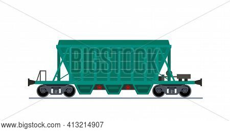 Freight Train Wagon. Hopper Car View From Side. Specialized Covered Hopper Railroad Wagon For Transp