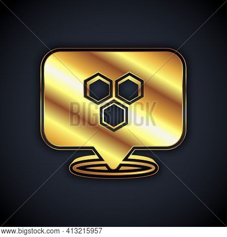 Gold Honeycomb Bee Location Map Pin Pointer Icon Isolated On Black Background. Farm Animal Map Point