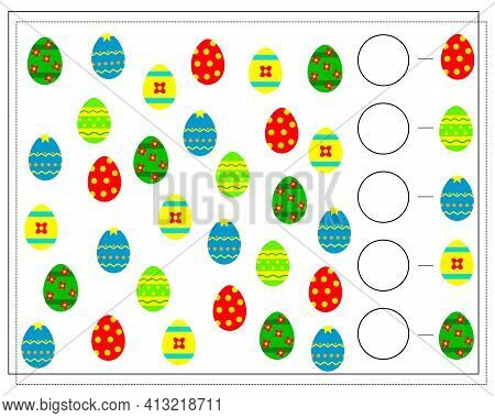 A Math Game For Kids. Count The Easter Eggs. Learning To Count. Vector Isolated On White Background