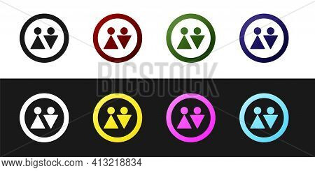 Set Toilet Icon Isolated On Black And White Background. Wc Sign. Washroom. Vector