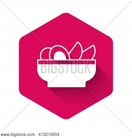 White Nachos In Plate Icon Isolated With Long Shadow Background. Tortilla Chips Or Nachos Tortillas.