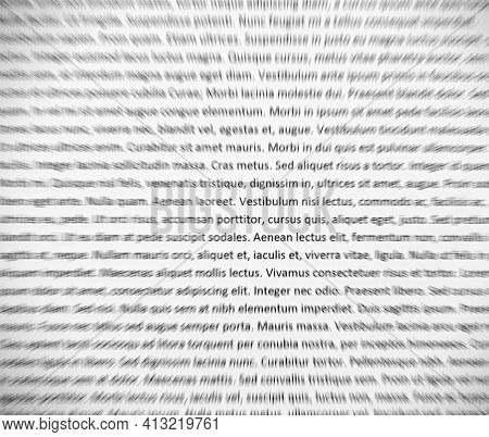 Closeup Of Lorem Ipsum Text On White Paper, Abstract Zoom Effect.