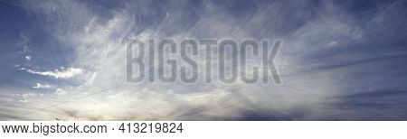 Sky Panorama, Dramatic Twilight Sky Background. Banner. Sunset, Sunrise Light. Copy Space