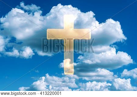 Gate To Heaven. Shining Cross In Clouds On Blue Sky. Copy Space. Ascension Day Concept. Christian Ea