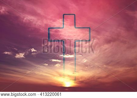 Easter, Ascension Day Concept. Silhouette Of Shining Cross On Sunset, Sunrise Background. Banner. Co