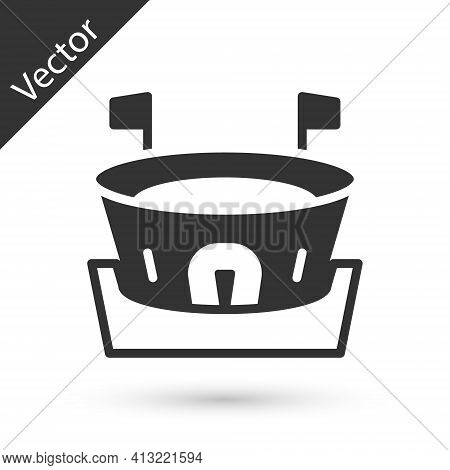 Grey Baseball Arena Icon Isolated On White Background. Baseball Field. Vector