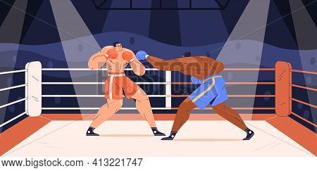 Muscular Boxers Fighting On Boxing Ring. Sparring Of Strong Fighters In Shorts And Gloves On Sports