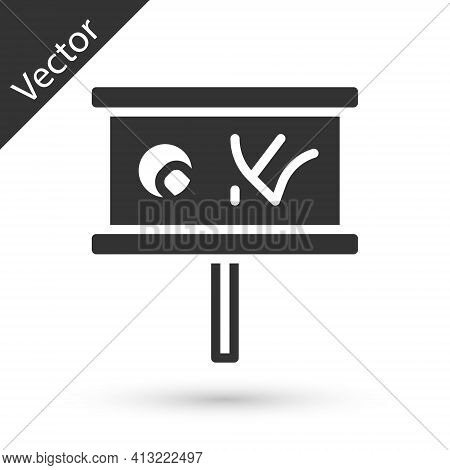 Grey Planning Strategy Concept Icon Isolated On White Background. Baseball Cup Formation And Tactic.