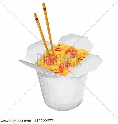 Paper Box Of Chinese Noodles With Shrimp And Chopsticks. Takeaway Carton Wok Box Noodles . Takeout C
