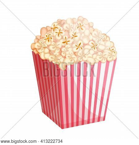 Popcorn Bucket Vector Illustration. Big Portion Popcorn. Cardboard Or Paper Bucket. Cinema Snack Or