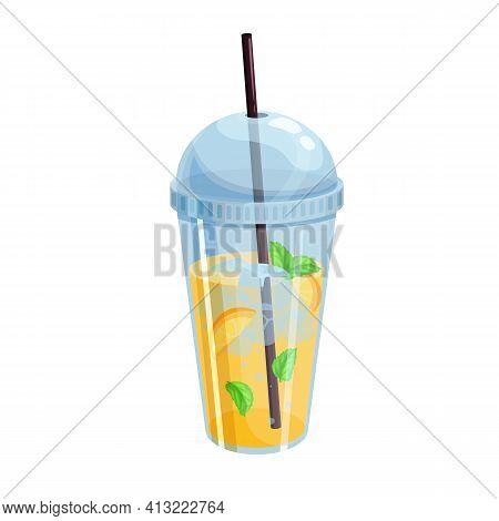 Vector Citrus Lemonade Icon. Refreshing Summer Citrus Drink In Plastic Cup For Design Street Cafe.