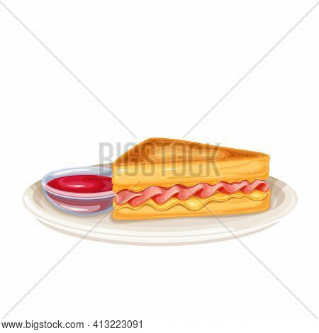 Monte Cristo Sandwich Vector Icon. Triangular Tall Sandwich With Grilled Cheese And Ham, Fried In Eg