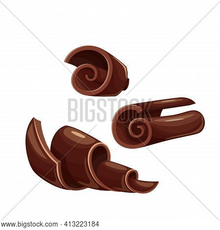 Chocolate Shavings Icons. Curl, Spiral, Confectionary Ingredient Vector Illustration. Chocolate Shav