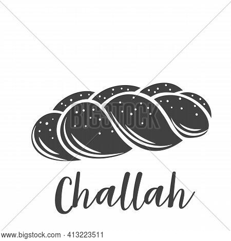 Challah Bread Glyph Icon Drawn Icon For Bakery Shop Or Food Design, Cut Monochrome Badge. Vector Ill