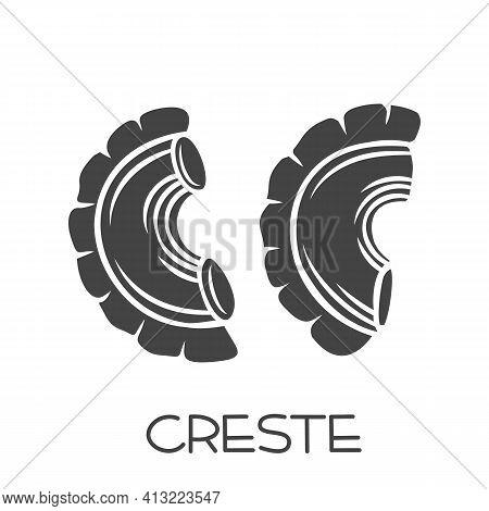 Creste Di Gallo Pasta Glyph Icon. Italian Cuisine Cut Monochrome Badge. Retro Style Vector Illustrat