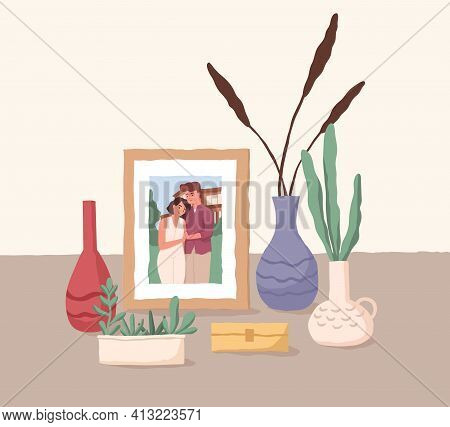 Framed Photo Of Love Couple. Family Portrait Of Man And Woman. Picture Of Husband And Wife. Colored