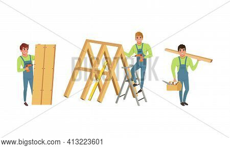 Professional Man Carpenter In Overall Installing Wooden Planks With Electric Drill Vector Set