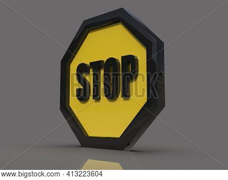 3d render STOP! You are Not Allowed Here, YellowOctagonal Stop Roadsign with Big Hand Symbol for Prohibited Activities, Traffic Stop Blocking Sign, Prohibition Icon, No Entry Signal, Yellow Warning