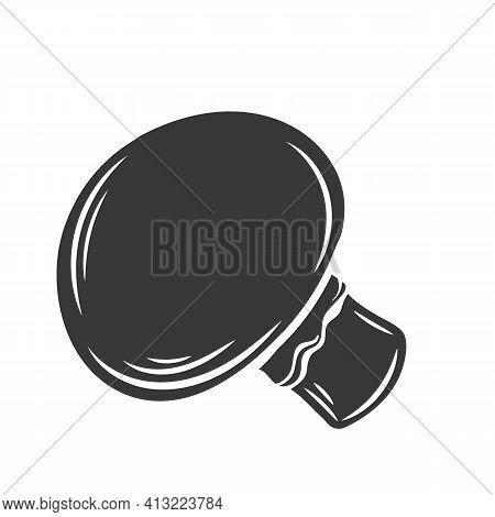 Glyph Champignon Mushroom Glyph Icon, Cut Monochrome Badge. Vector Illustration Of Champignon For Re