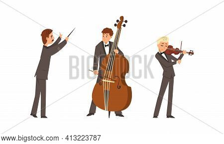 Male Musicians Of Symphonic Orchestra Playing Various Musical Instruments Vector Set