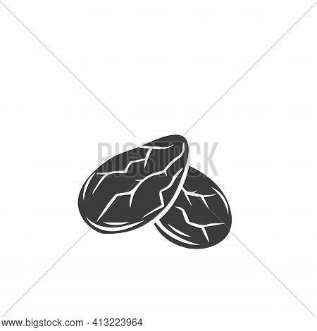 Cocoa Beans Grain Glyph Icon. Hand Drawn Monochrome Vector Illustration Of Cocoa Grain In Retro Styl