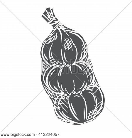 Garlic In Mesh Bag Glyph Icon, Vector Cut Monochrome Badge. Vegetable Packaging Concept. Engraved Il