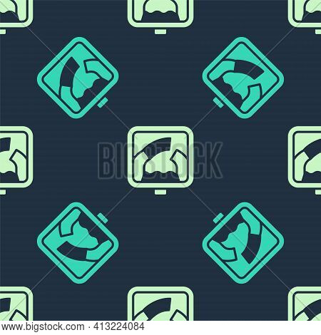 Green And Beige Drawbridge Ahead Icon Isolated Seamless Pattern On Blue Background. Information Road