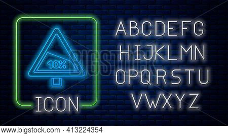 Glowing Neon Steep Ascent And Steep Descent Warning Road Icon Isolated On Brick Wall Background. Tra