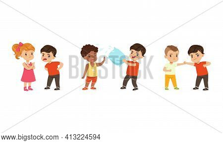 Brave Little Boy And Girl Standing Up Against Bullying And Warring Behavior Vector Set