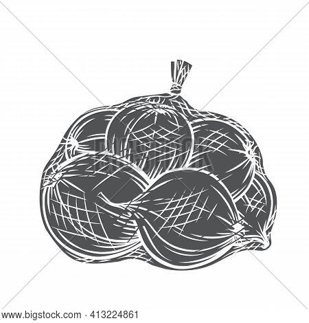 Onions Packed In Net Bag Glyph Icon, Vector Cut Monochrome Badge. Engraved Harvest Of Onion Vegetabl