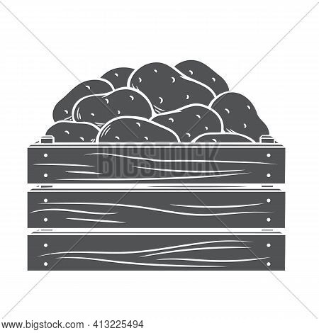 Ripe Potatoes In Wooden Box. Glyph Icon, Vector Cut Monochrome Badge Of Autumn Harvest Of Potatoes I