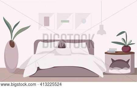 Cozy Bedroom Interior With Paintings And Flowers And A Cozy Place For A Cat. Modern Vector Illustrat