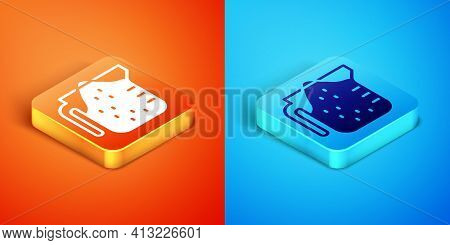 Isometric Measuring Cup To Measure Dry And Liquid Food Icon Isolated On Orange And Blue Background.