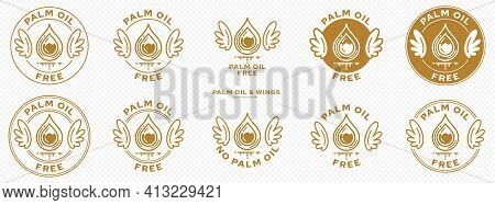 Concept For Product Packaging. Labeling - No Palm Oil. The Stamp With Wings, Palm Oil Drop And Liqui