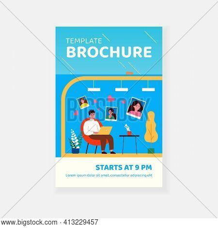 Macho Guy Chatting With Women. Dating Website, Flirt, Man Choosing Girlfriend. Flat Vector Illustrat