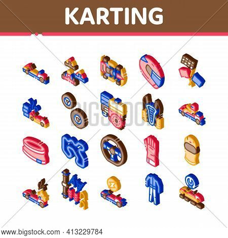 Karting Motorsport Isometric Icons Set Vector Illustration