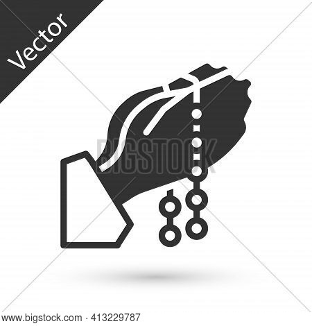 Grey Hands In Praying Position With Rosary Icon Isolated On White Background. Praying Hand Islam Mus