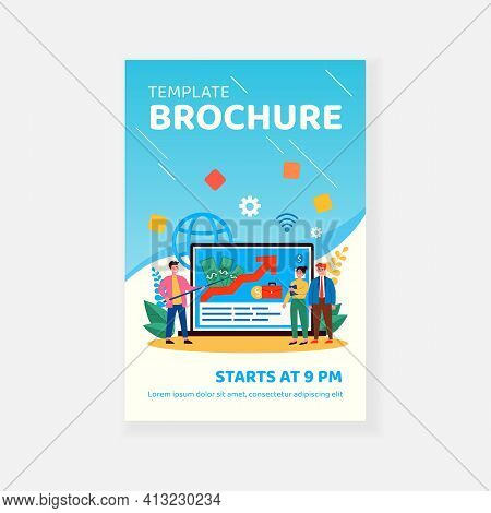 Tiny Business Tutor Explaining About Investment. Arrow, Laptop, Investor Flat Vector Illustration. F