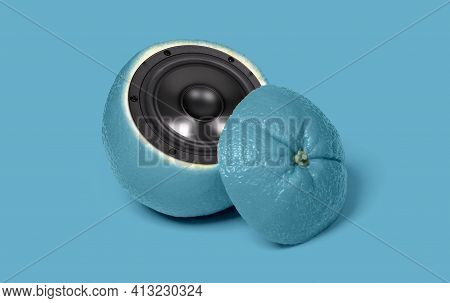 Weird Blue Orange With Speaker Inside, Isolated On A Blue Background
