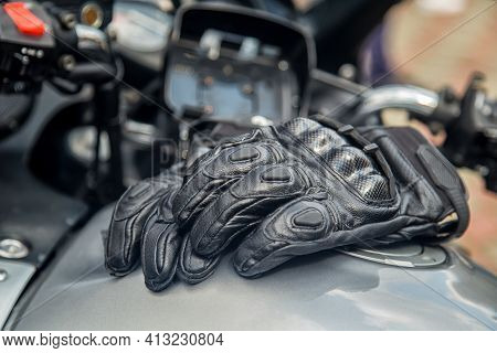 Moto Gloves. Motorcyclist Arm Protection.view Of Motorcycle Accessories. Items Included Motorcycle H