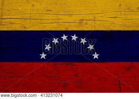 Flag Of Venezuela. Wooden Texture Of The Flag Of Venezuela.