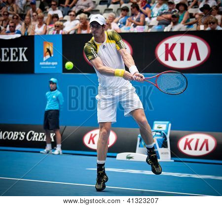 MELBOURNE - JANUARY 17: Andy Murray of Scotlandr in his second round win over Joao Sousa  of Portugal at the 2013 Australian Open on January 17, 2013 in Melbourne, Australia.