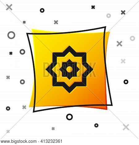 Black Islamic Octagonal Star Ornament Icon Isolated On White Background. Yellow Square Button. Vecto