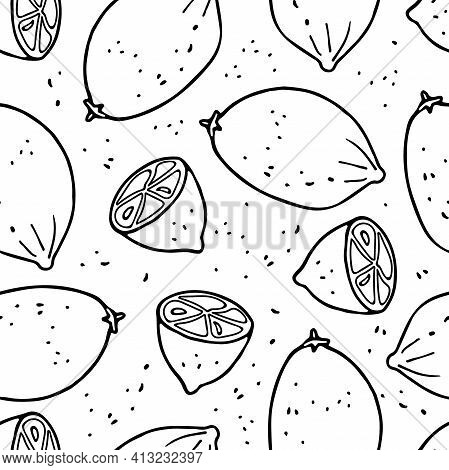 Lemon Fruit Seamless Pattern Hand Drawn Sketch Isolated On White Background. Doodle Outline Vector I
