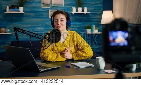 Blogger Speaking About Life During Podcast In Home Studio Looking At Camera. Online Show On-air Prod