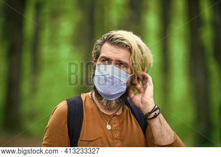 Stop Infection. Slowly Emerge From Lockdown Restrictions. Walk In Park. Avoid Infection. Hipster Pro