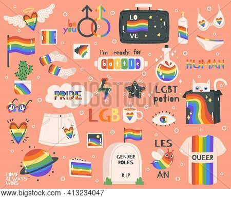 Cute Pride Symbols. Hand Drawn Lgbtq Pride Rainbow, Peace Sign And Flag, Pride Month Symbols And Let