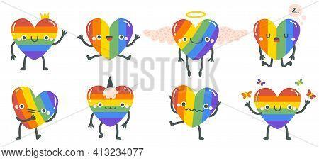 Cute Rainbow Hearts. Happy Smiling Lgbtq Rainbow Heart Characters, Gay Pride Rainbow Heart Mascots.