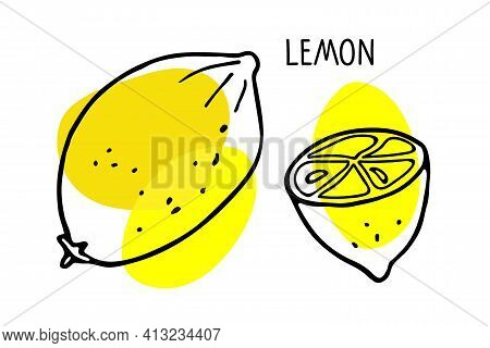 Lemon Fruit Handdrawn Sketch With Bright Yellow Spot Isolated On White. Citrus Fruit With Inscriptio